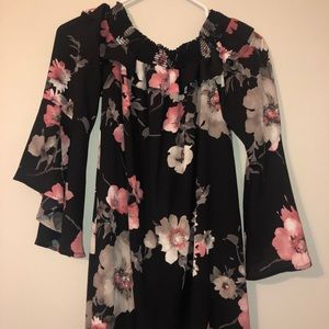Altered Stare Black Flower Dress